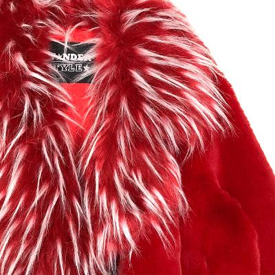 mix fur mink coat red